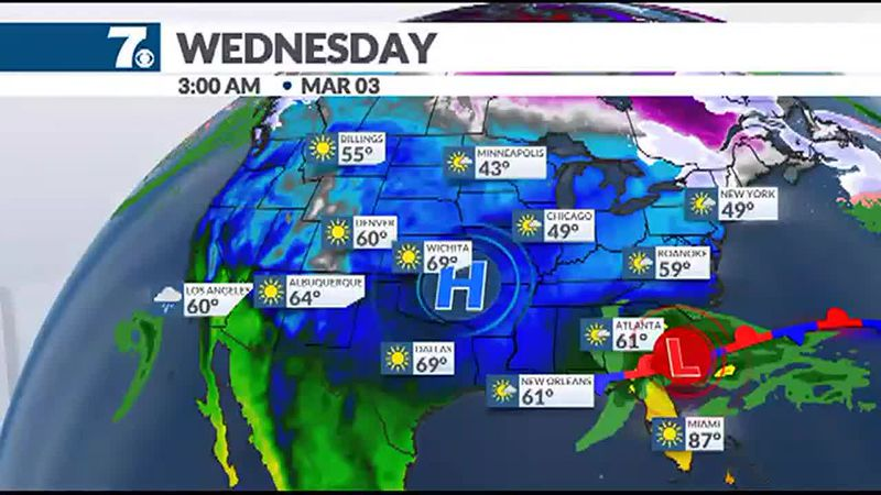 A storm system will keep most of its moisture to our south on Wednesday.