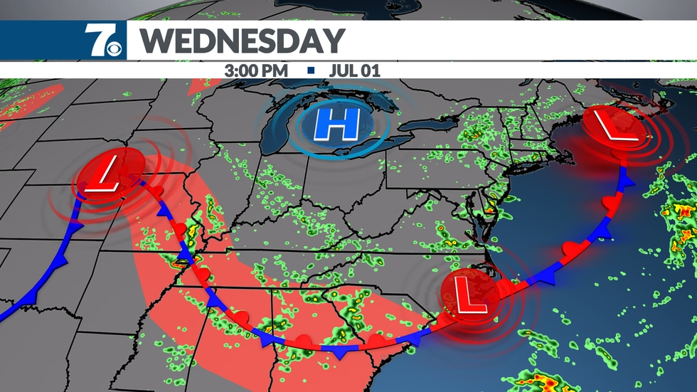 Wednesday features the best coverage of afternoon showers and storms.