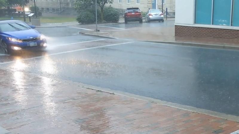 Rain in downtown Harrisonburg.