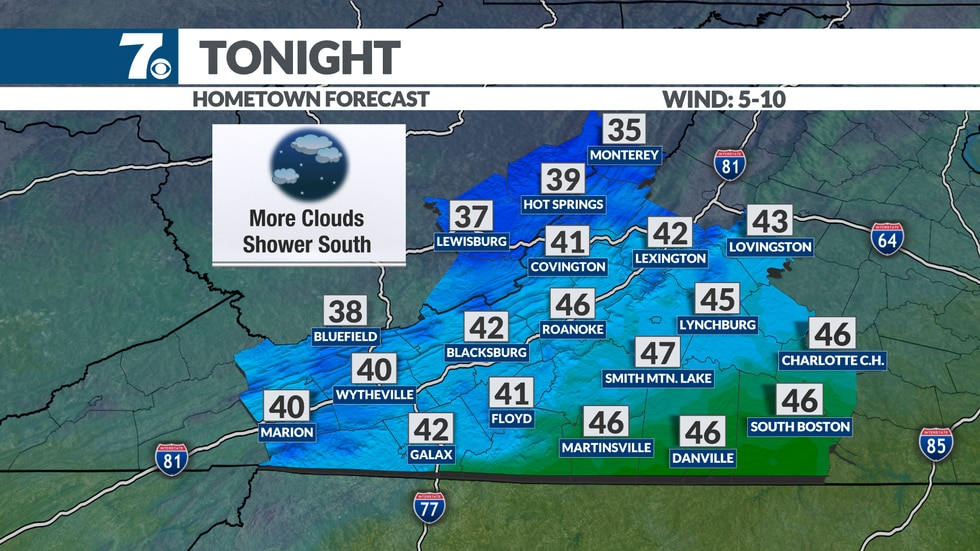 Mostly cloudy and cool overnight.