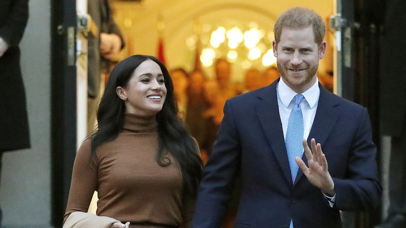 In this Jan. 7, 2020, file photo, Britain's Prince Harry and Meghan, Duchess of Sussex leave...