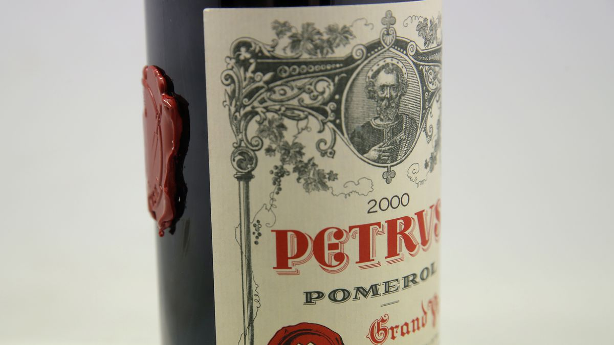 A bottle of Pétrus red wine that spent a year orbiting the world in the International Space...