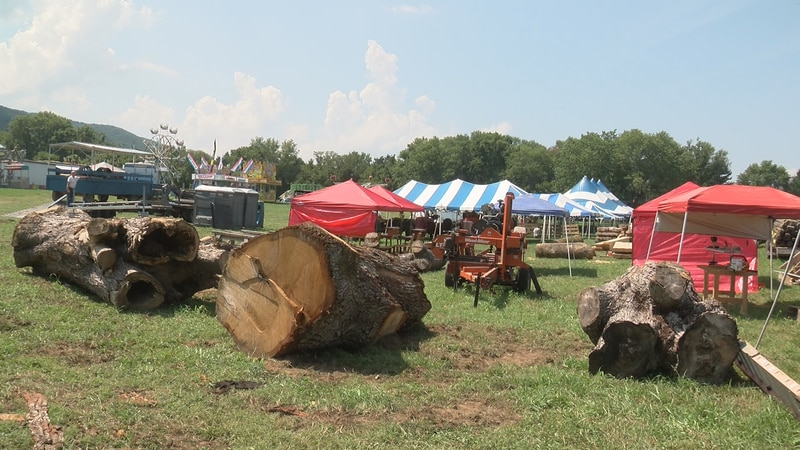 The Heritage Woodwork display at the entrance of the Rockbridge Regional Fair.