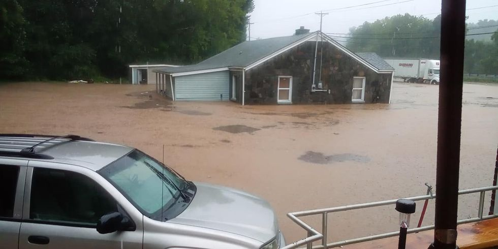 Heavy rain resulted in flooding along Highway 220.