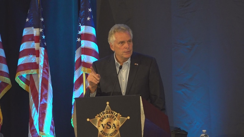 Democratic candidate for Governor Terry McAuliffe defended his record on public safety during a...