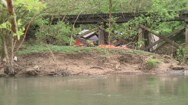 As temperatures rise, more homeless people set up camp outside in Roanoke, at sites like this...
