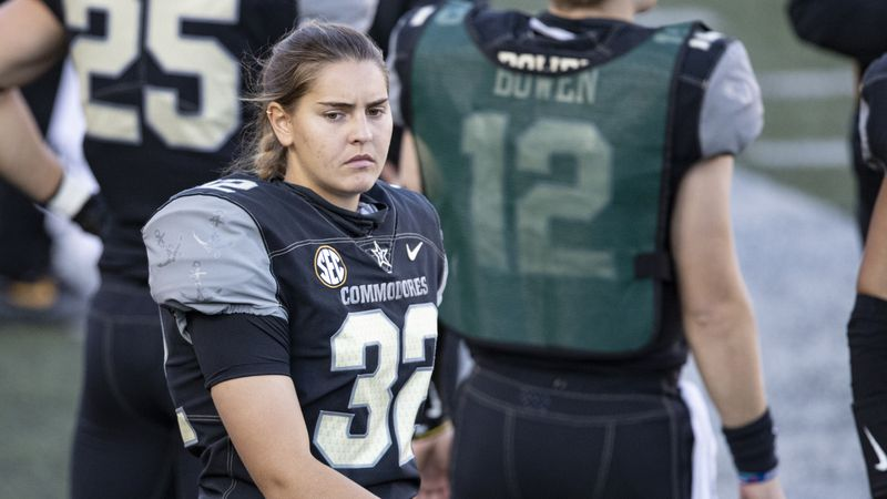 In this Dec. 12, 2020, file photo, Vanderbilt kicker Sarah Fuller walks along the sideline...