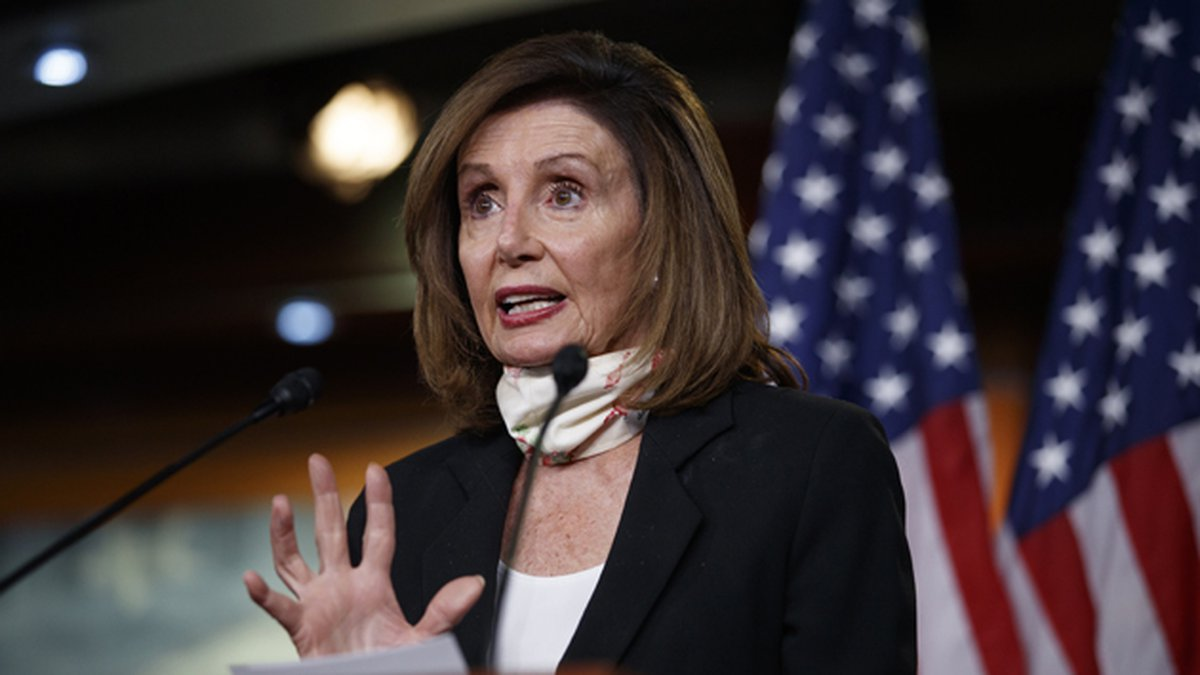 House Speaker Nancy Pelosi of California speaks during a news conference on Capitol Hill in...