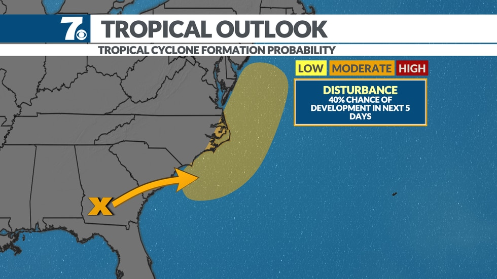 An area of low pressure looks to move up the coast and could develop into a tropical system.