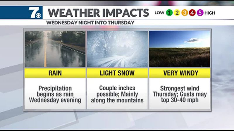 Our next winter storms moves in later Wednesday into Thursday.
