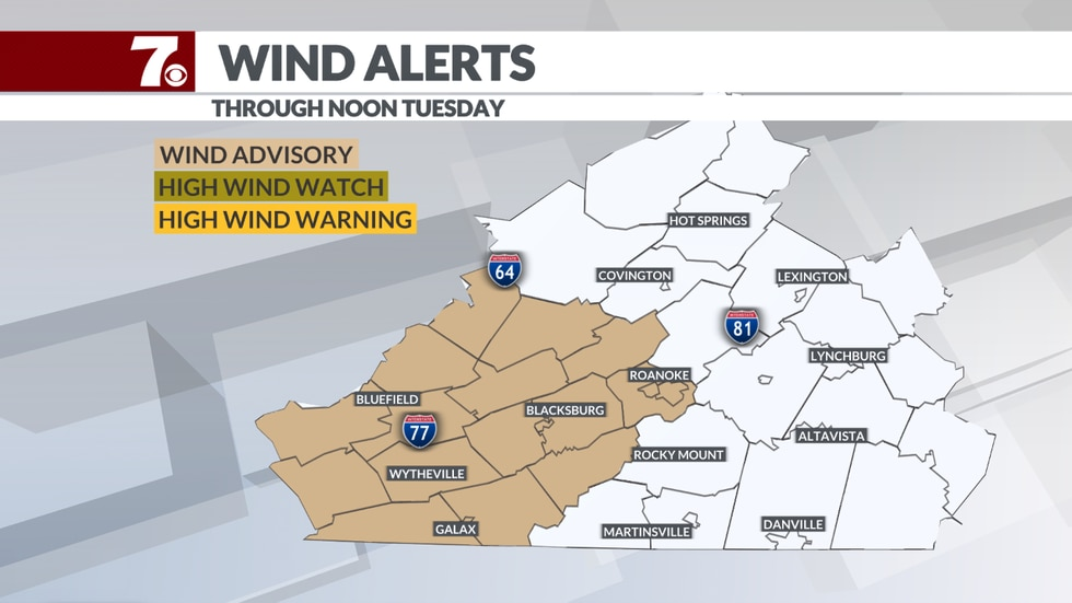 All the highlighted counties in tan are under a wind advisory through noon on Tuesday.