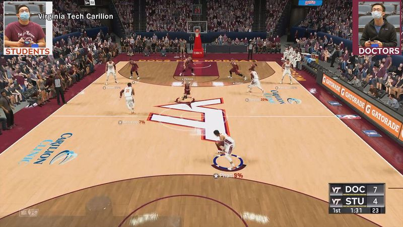 The virtual basketball game will look like this demonstration.