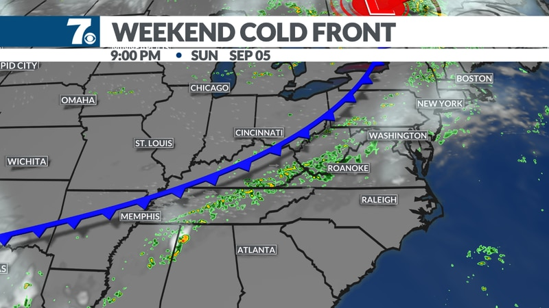 A cold front will bring a stray shower to the region late Sunday night into  Monday morning.
