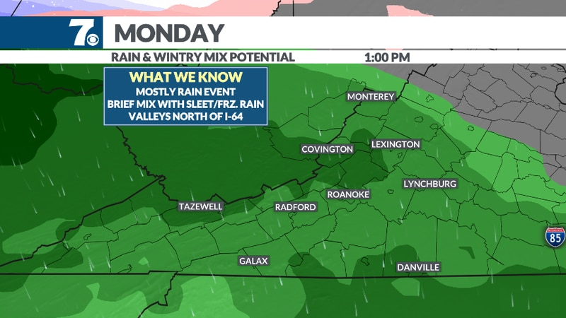 Soaking rain expected on Monday.