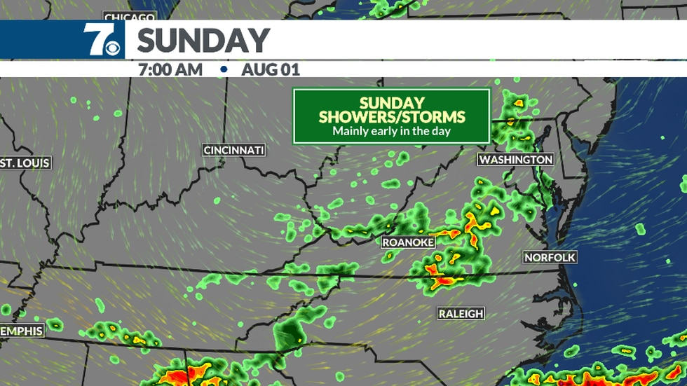 Scattered showers and storms are possible Sunday, especially in the morning.