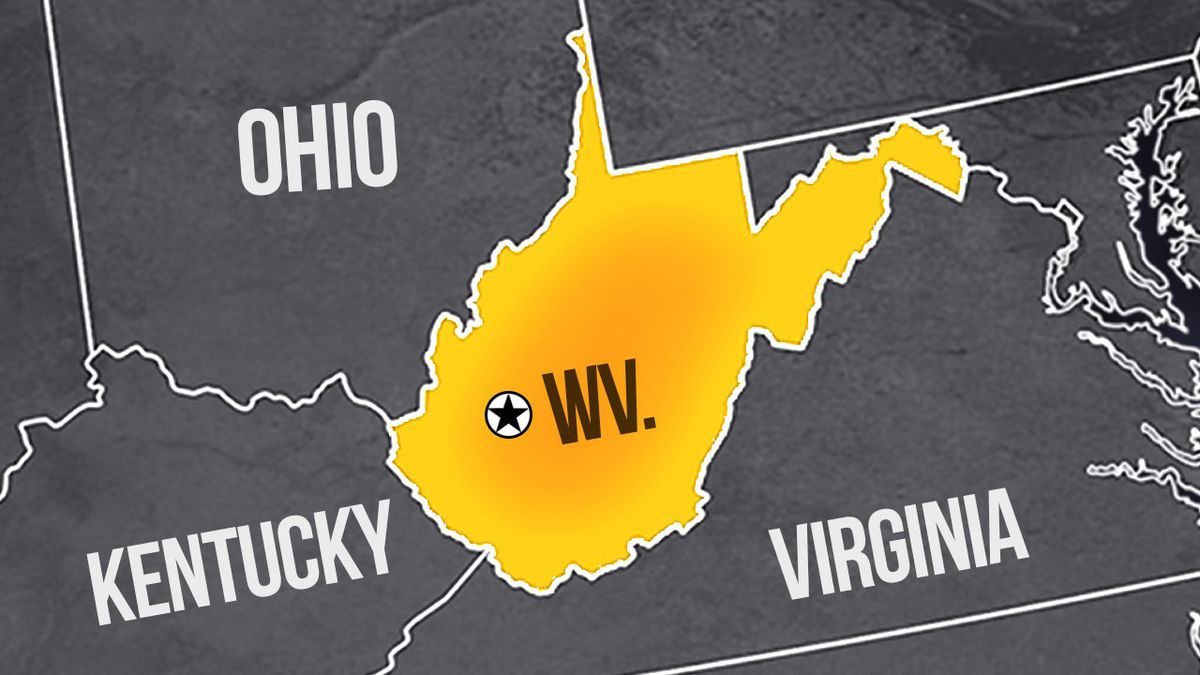 Charleston, capital of West Virginia, is marked by the circle with the star on this map.