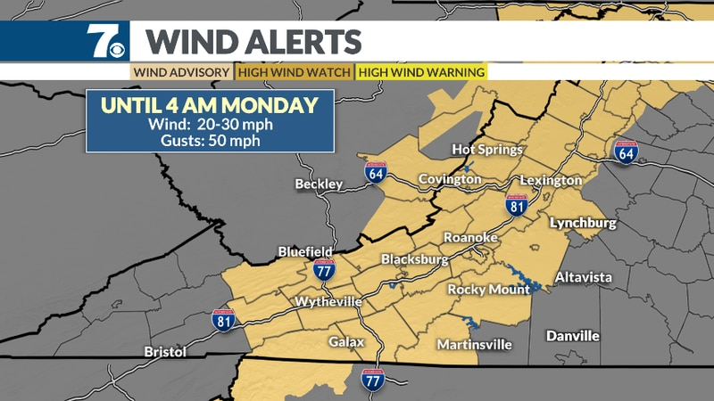 Gusts up to 40-50 mph will be possible after the front passes.