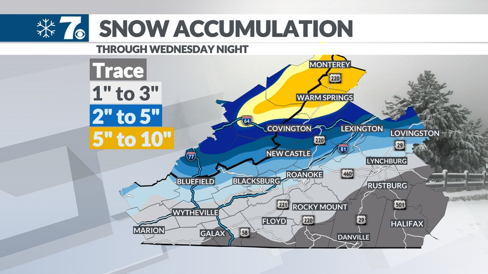 The highest snowfall totals remain in the Highlands and along the I-64 corridor, with lesser...