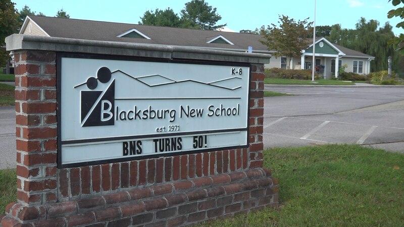 Blacksburg New School's celebratory sign on Friday September 10, 2021.