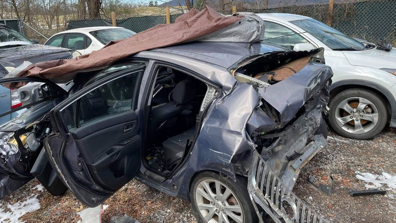 This is what the car that Claire was riding in looked like after the crash.