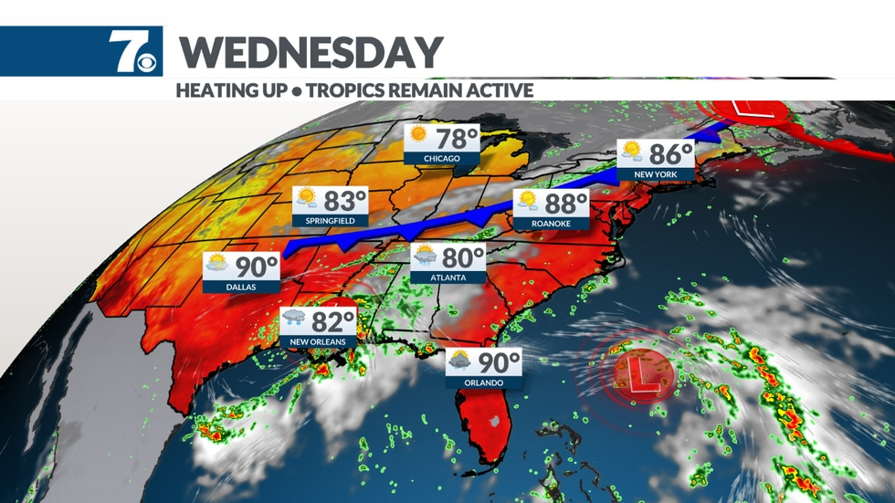 A frontal boundary will trigger a few stray storms on Wednesday.