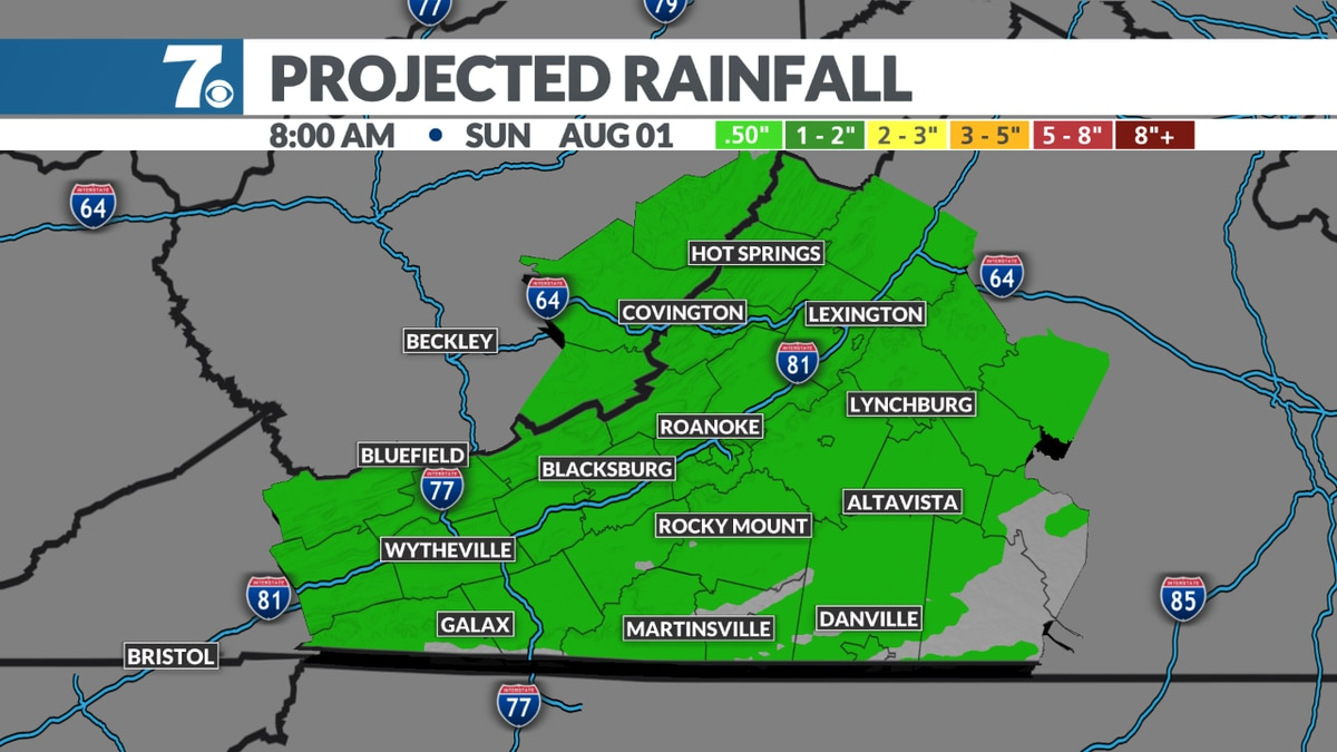 """Most should see less than .50"""" of rain."""