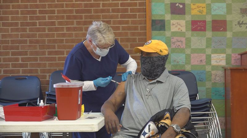 The Roanoke housing authority brought vaccines to residents 65 and older, during vaccine...