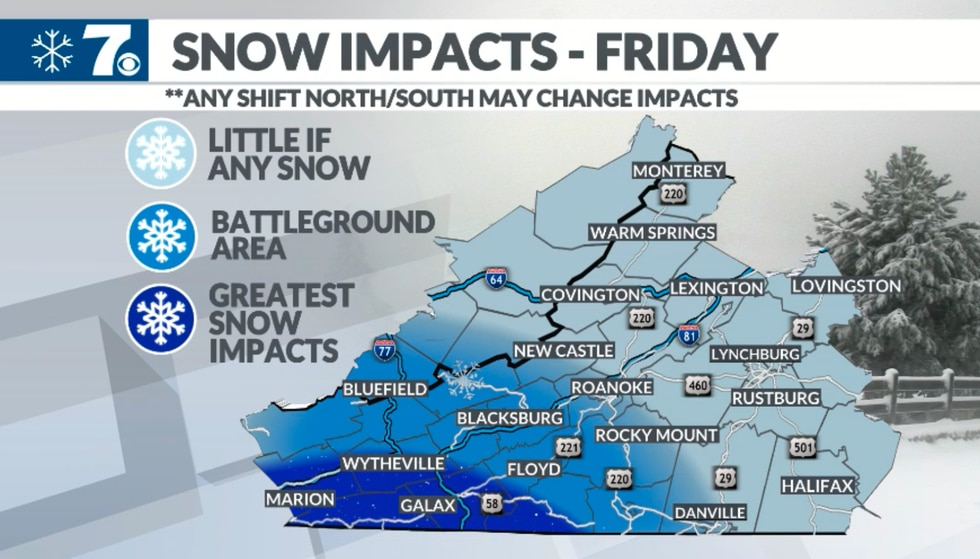 The greatest snow chances will be along the Interstate 77 corridor and into the mountains of...