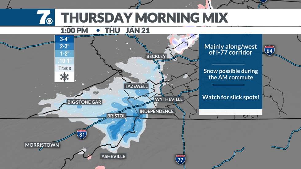 Light snow showers are possible for the morning commute, west of the Interstate 77 corridor.