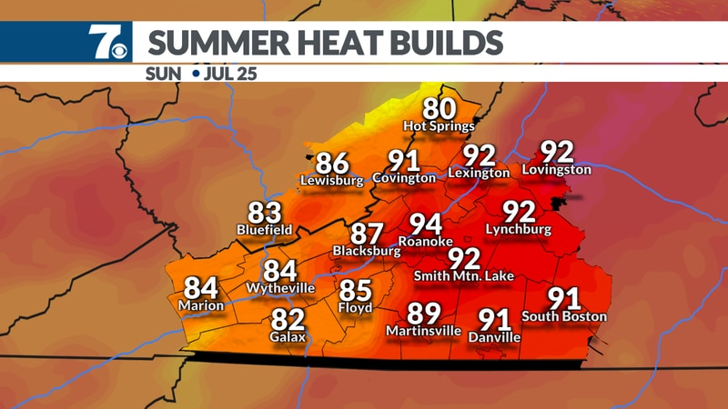 Highs return to the 90s.