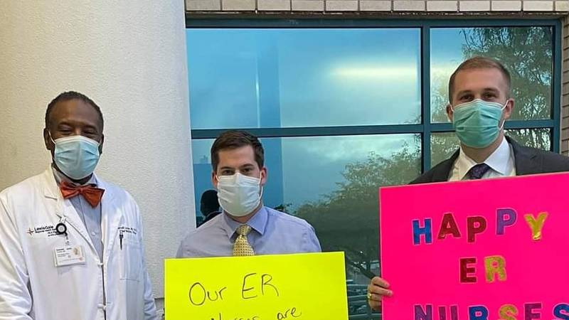 Signs were made as well as food delivered to nurses of all shifts on Wednesday as part of the...