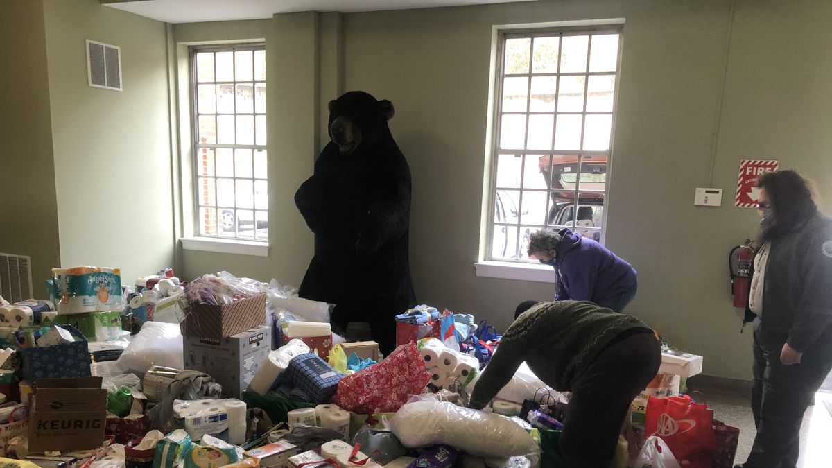 Volunteers gather thousands of items contributed as part of Natural Bridge State Park's...