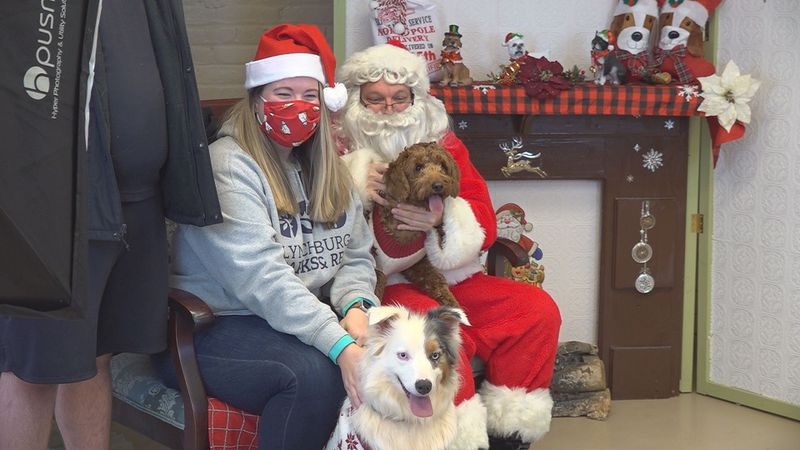 Pups take photos with Santa Paws at the Miller Center in Lynchburg.