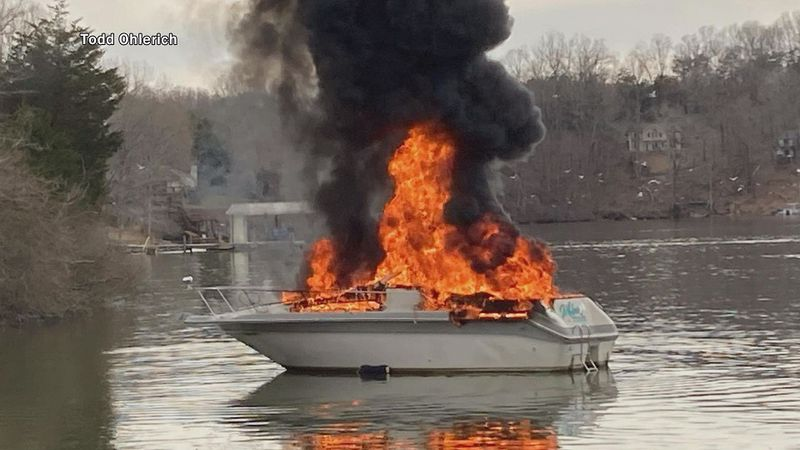No one was injured when a boat exploded and set fire on Smith Mountain Lake near Indian Pointe...