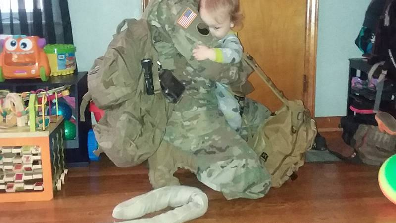 Joshua Severs heads out for deployment and says goodbye to his son.